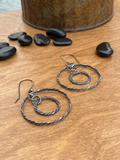 Sterling Silver Twisted Wire Floating Hoop in Hoop Earrings