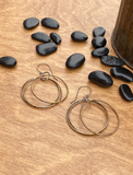 Bronze and Sterling Silver Triple Hoop Earrings