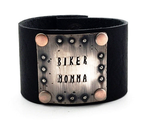 "Sterling Silver and Black Leather ""Biker Momma"" Wide Cuff Bracelet"