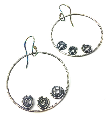Triple Swirl Silver Hoop Earrings