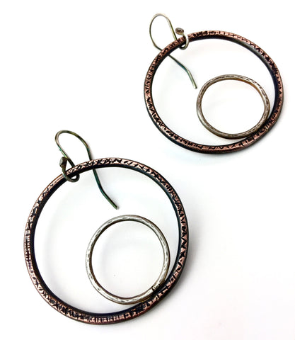 Circle on Circle Hoop Earrings