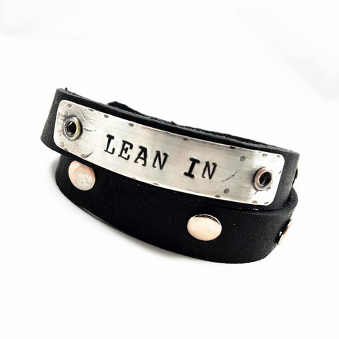 """Lean In"" Leather and Silver Wrap Bracelet"