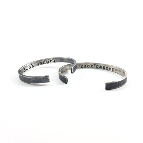 """Fuck Cancer"" Sterling Silver Cuff Bracelet"