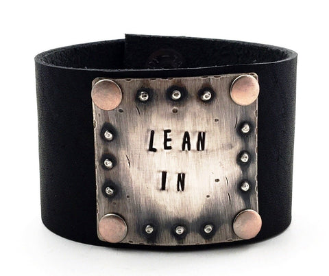 "Sterling Silver and Black Leather ""Lean In"" Wide Cuff Bracelet"