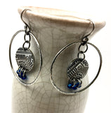 Silver Hoop with Tribal Coin Dangle