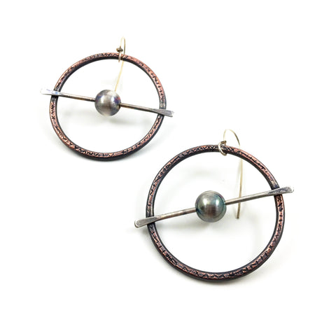 "Sterling Silver and Copper ""Fidget"" Hoop Earrings"