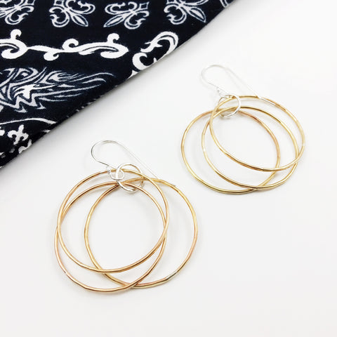 Sterling Silver and Brass Triple Hoop Earrings
