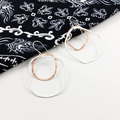 Sterling Silver and Copper Organic Flat Hoops