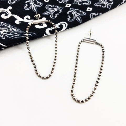 Sterling Silver Bead Chain Hoop Earrings