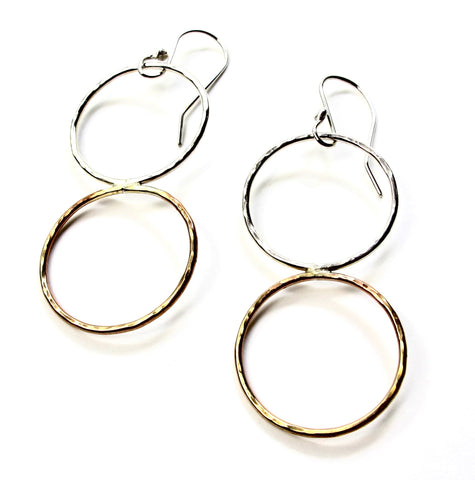 Silver and Brass Double Hoop Earrings