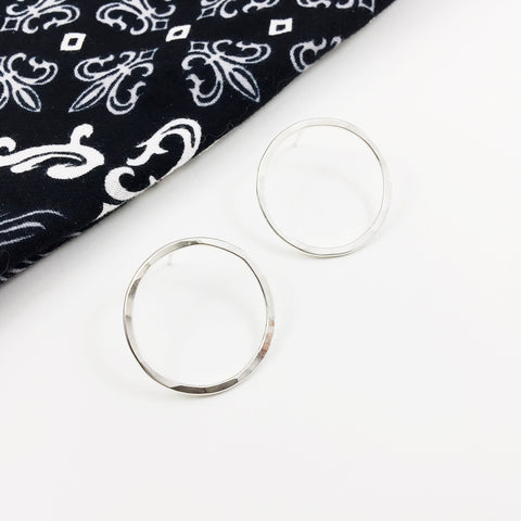 Small Sterling Silver Floating Hoops
