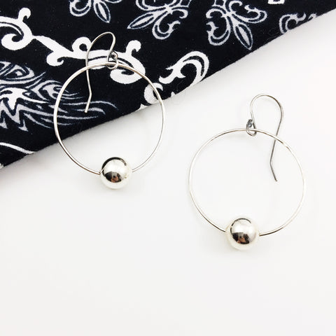 Sterling Silver Hoop Earrings with Silver Bead