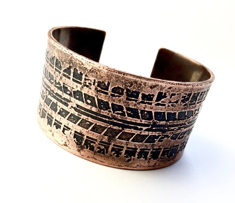 Tire Tracks Copper Cuff Bracelet