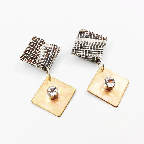 Tredz Brass and White Topaz Earring