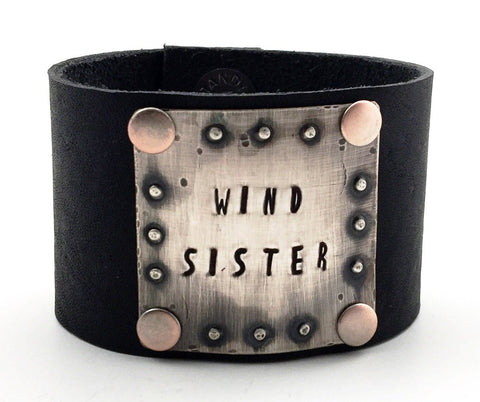 "Sterling Silver and Black Leather ""Wind Sister"" Wide Cuff Bracelet"