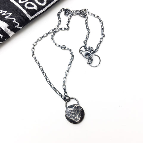 "Sterling and Fine Silver ""Tredz"" Texture Messy Heart Necklace"