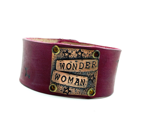 Wonder Woman Red Leather Cuff Bracelet