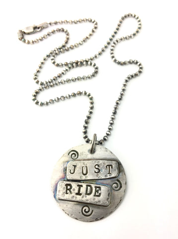 """Just Ride"" Silver Stamped Circle Pendant"