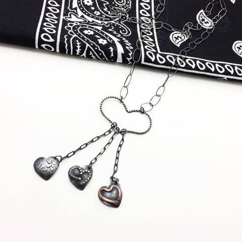 Sterling Silver Long Heart Charm Fringe Necklace