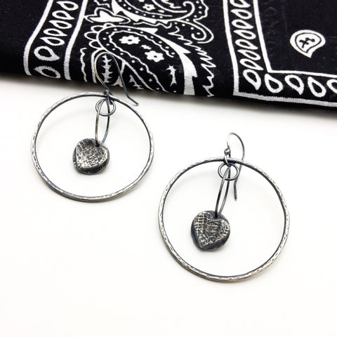 Sterling Silver Hoops with Tredz Dangle