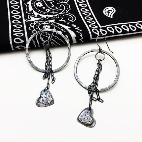Sterling Silver Heart Fringe Hoop Earrings