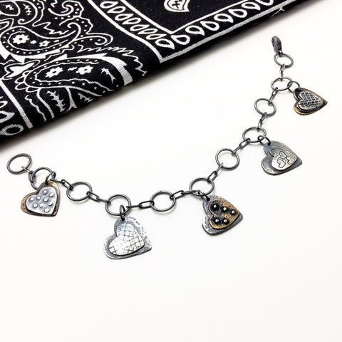 Sterling Silver Heart Charm  Mixed Metal Bracelet