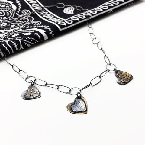 Sterling Silver Heart Charm Mixed Metal Necklace