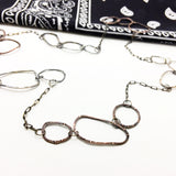 Sterling Silver Mixed Metal Long Chain Necklace