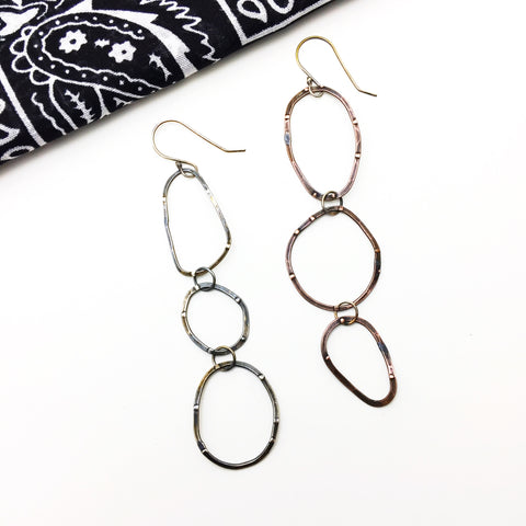 Sterling Silver Mixed Metal Long Hoop Earrings