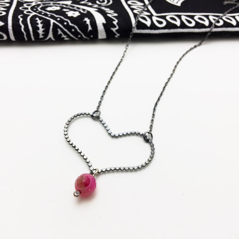 Sterling Silver Open Heart Hot Pink Agate