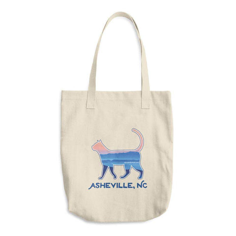 Asheville Blue Ridge Mountain Cat - Cotton Tote Bag - Devoted Human