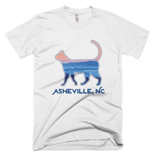 Asheville Blue Ridge Mountain Cat - Short-Sleeved Unisex T-Shirt - Devoted Human