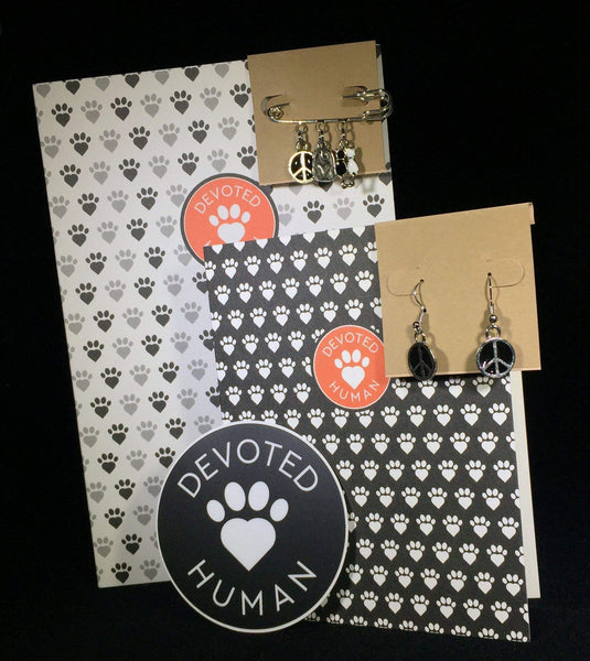 Black and White Devoted Human Journal & Jewelry Gift Set - for cat lovers - Devoted Human