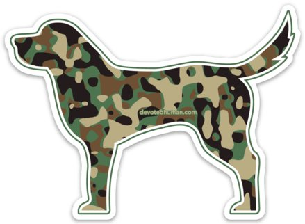 Camo Dog Vinyl Sticker - Devoted Human
