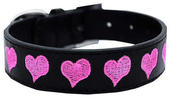 Embroidered Heart Dog Collar - black vegan collar with pink hearts - Devoted Human