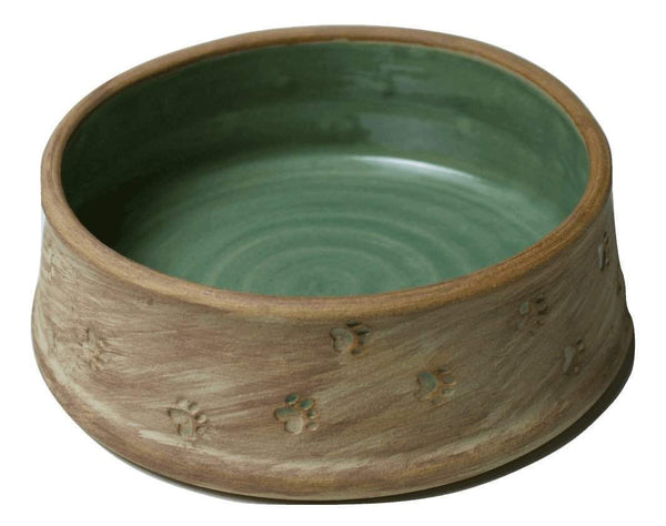 Green Interior Pottery Dog Bowl with Paw Prints - large - Devoted Human