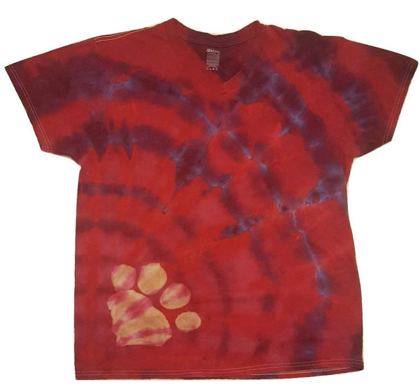 Heart Paw Print Tie Dye Unisex T-Shirt - size XL; red/purple; one-of-a-kind - Devoted Human