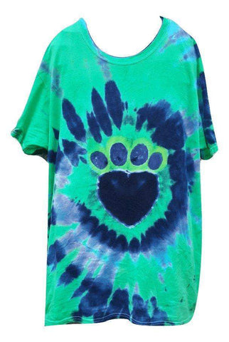 Heart Paw Print Tie Dye Women's T-Shirt - size large; blue/green; one-of-a-kind - Devoted Human