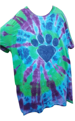 Heart Paw Print Tie Dye Women's T-Shirt - size large; blue/purple; one-of-a-kind - Devoted Human
