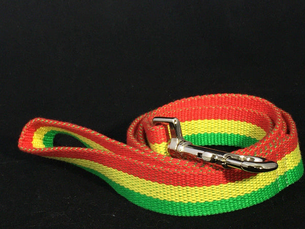 Jah Love Bamboo Dog Leash - green, gold, and red - Devoted Human
