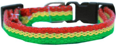 Jah Love Bamboo/Nylon Breakaway Cat Collar - green, gold, and red - Devoted Human