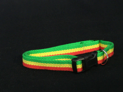 Jah Love Bamboo/Nylon Dog Collar - green, gold, and red - Devoted Human