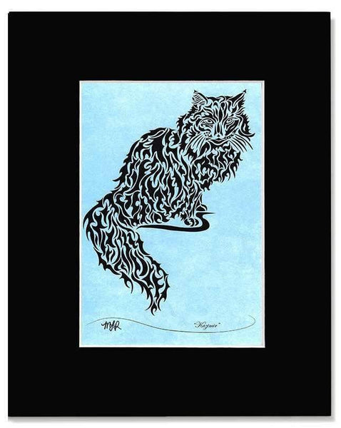 Kazimir - tribal kitty print with mat - Devoted Human