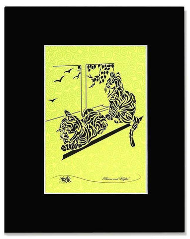 Kluane & Kajika - tribal kitty print with mat - Devoted Human