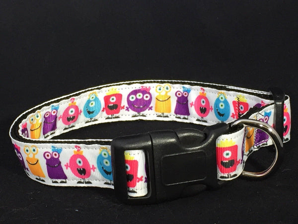 Little Monsters on White Background - Nylon Dog Collar - Devoted Human