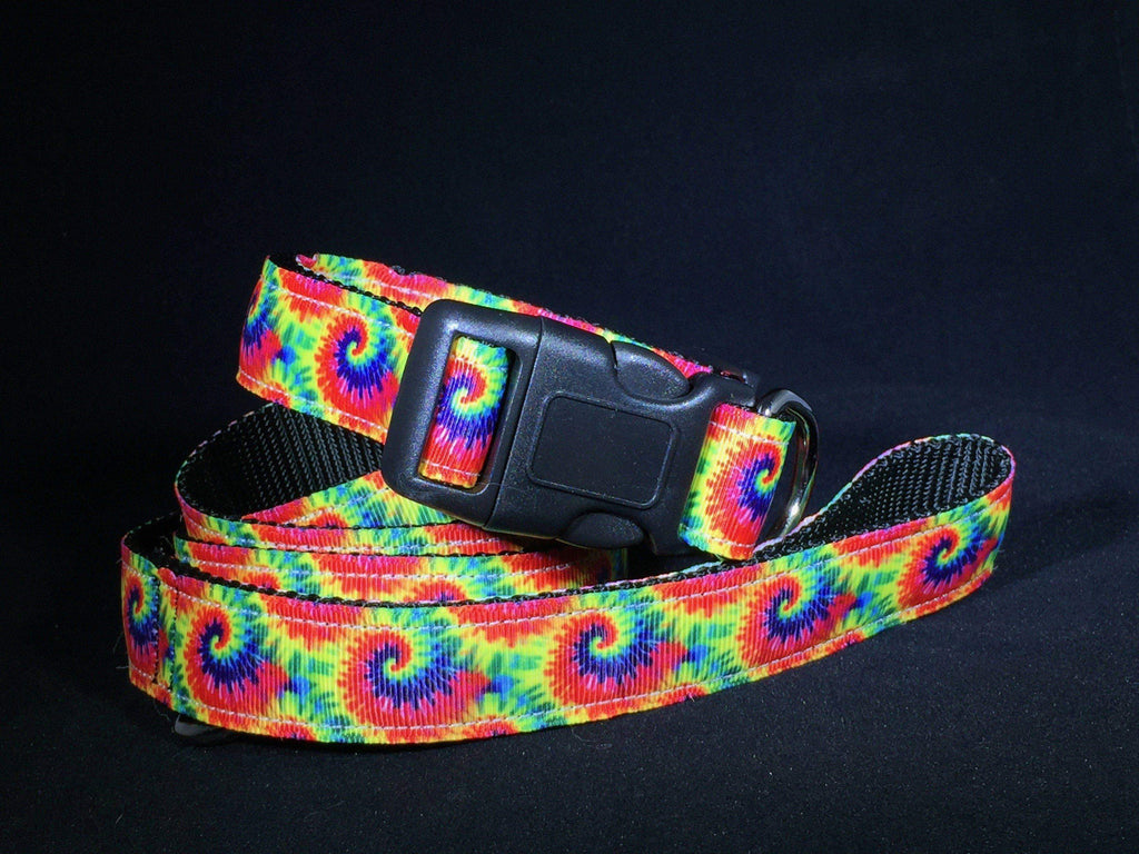 Rainbow Tie Dye Nylon Dog Collar - Devoted Human