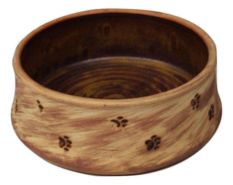 Red Interior Pottery Dog Bowl with Paw Prints - large - Devoted Human