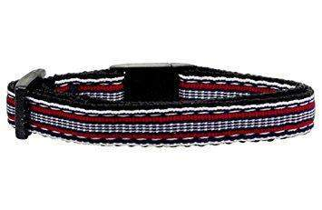 Red, White, and Blue Striped Breakaway Cat Collar - Devoted Human