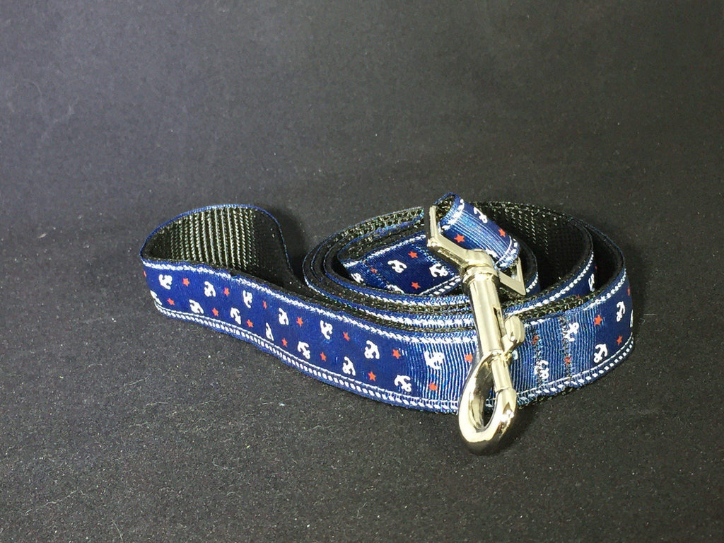 Red, White, and Blue with Anchors - Nylon Leash - Devoted Human