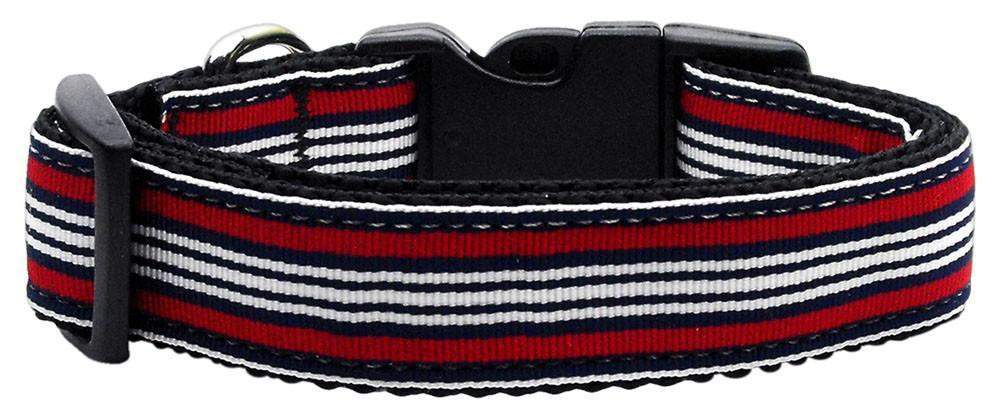 Red/White/Blue Striped Ribbon Dog Collar - Devoted Human
